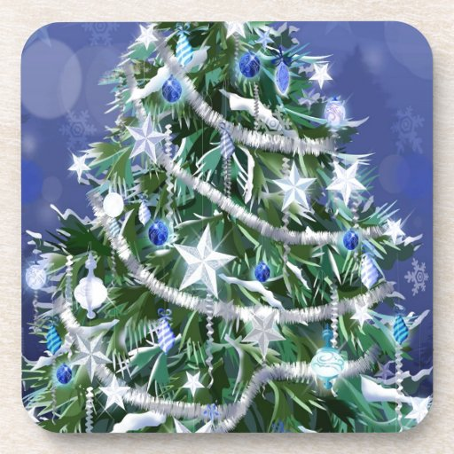 Abstract Cool Christmas Tree Times Beverage Coaster