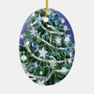 Abstract Cool Christmas Tree Times Ceramic Oval Decoration