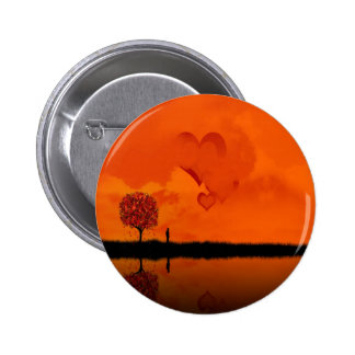 Abstract Cool Deep Red Hearts Pinback Buttons