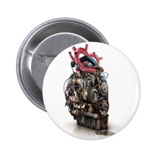 Abstract Cool Engine Heart Machine Pinback Button