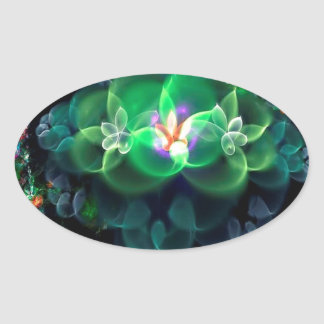 Abstract Cool Flower Light Oval Sticker