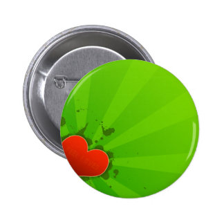 Abstract Cool Green And Simple Heart Buttons