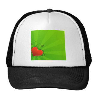 Abstract Cool Green And Simple Heart Trucker Hats