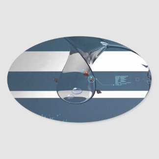 Abstract Cool Lady Bird Water Lamp Oval Sticker