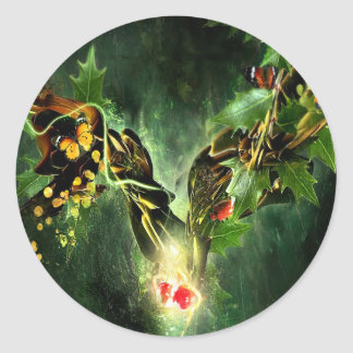 Abstract Cool Ladybird Butterfly Vines Round Stickers