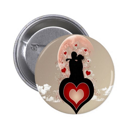 Abstract Cool Lovers Heart Pinback Button