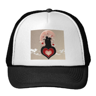 Abstract Cool Lovers Heart Hats