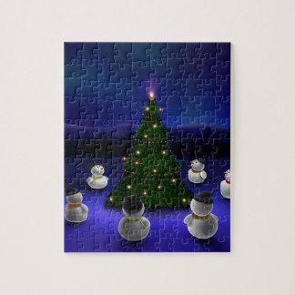Abstract Cool Snowmen Gathering Jigsaw Puzzle