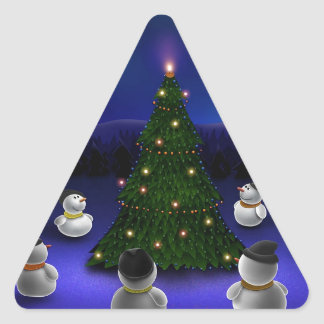 Abstract Cool Snowmen Gathering Triangle Sticker