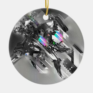 Abstract Cool Transformation Robotics Round Ceramic Decoration