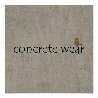 Abstract Cool Urban Concrete Wear Bird Poster