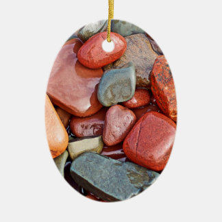 Abstract Cool Wet Pebbles Ceramic Oval Decoration