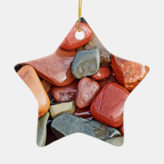 Abstract Cool Wet Pebbles Ceramic Star Decoration