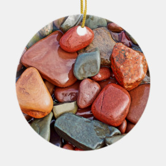 Abstract Cool Wet Pebbles Round Ceramic Decoration