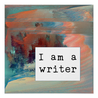Abstract Coral, Blue and Rust Writer Motivational Poster
