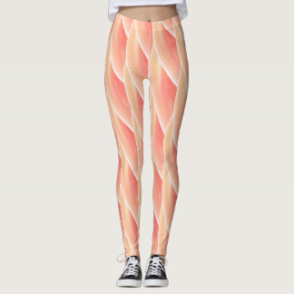 Abstract Coral Curly Wave Pattern Leggings