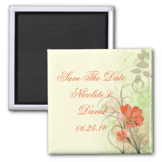 Abstract Coral Lime Floral Save The Date Magnet