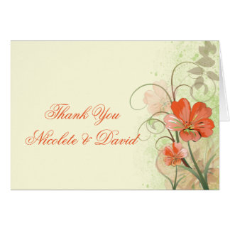 Abstract Coral Lime Flowers Swirls Thank You Card