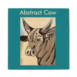 abstract cow coaster maple wood coaster