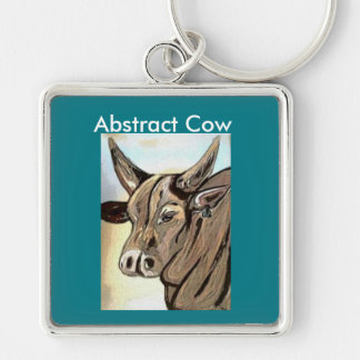 Abstract Cow collection Silver-Colored Square Key Ring