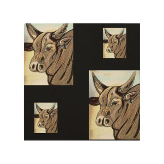 abstract cow wood canvas