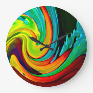 Abstract Crashing Wave Beach House Large Clock