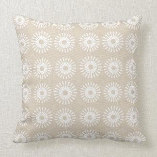 Abstract Cream Linen Floral Pattern Pillow