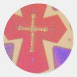abstract cross round sticker