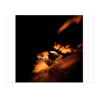 Abstract Crystal Reflect Amber Diamond Postcard