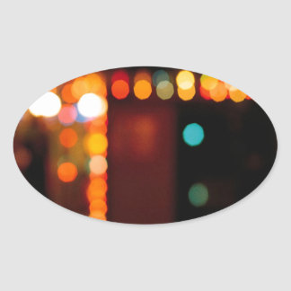 Abstract Crystal Reflect Nightlife Oval Stickers