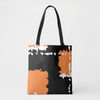 abstract crystallize design black orange and white tote bag