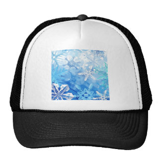 Abstract Crystals Blue Ice Hats
