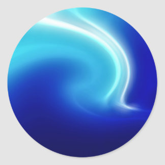 Abstract Crystals Blue Mist Round Sticker