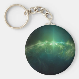 Abstract Crystals Green Globe Basic Round Button Key Ring