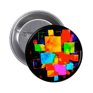 Abstract Cubes - altered random colourful digital 6 Cm Round Badge