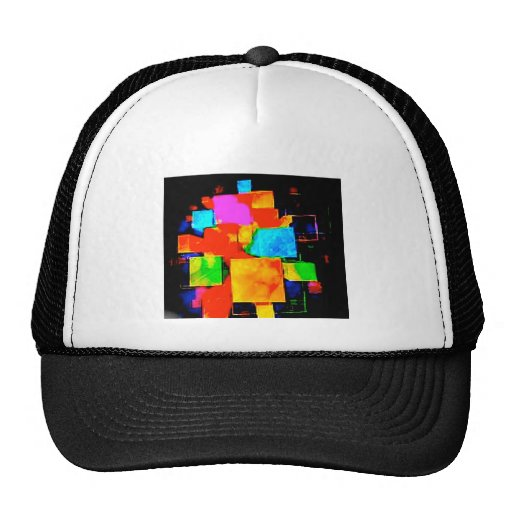Abstract Cubes - altered random colourful digital Mesh Hat