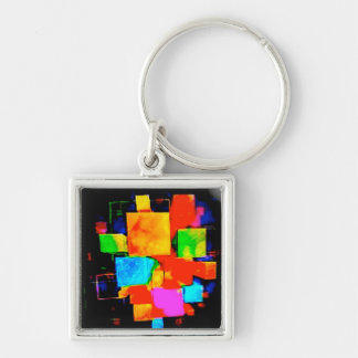 Abstract Cubes - altered random colourful digital Keychains