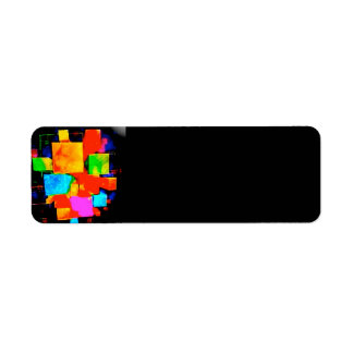 Abstract Cubes - altered random colourful digital Return Address Label
