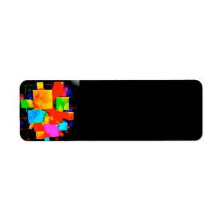 Abstract Cubes - altered random colourful digital Return Address Label