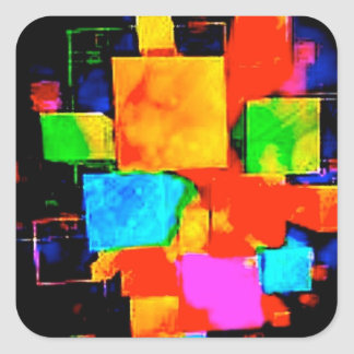 Abstract Cubes - altered random colourful digital Square Sticker