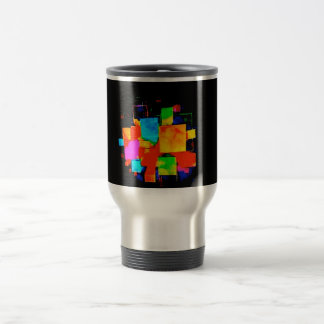 Abstract Cubes - altered random colourful digital Stainless Steel Travel Mug