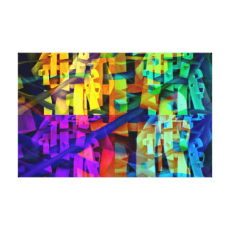 Abstract cubes purple canvas print