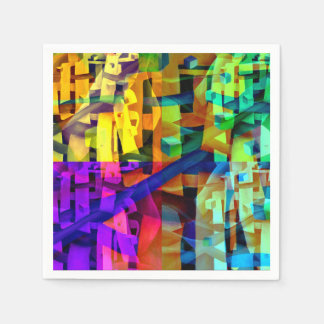 Abstract cubes purple disposable napkins