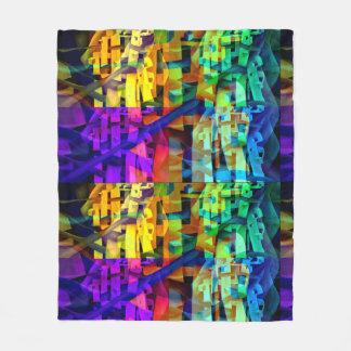 Abstract cubes purple fleece blanket