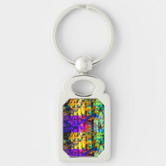 Abstract cubes purple key ring
