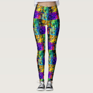 Abstract cubes purple leggings