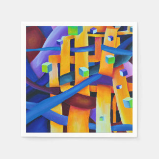Abstract cubes purple paper napkins