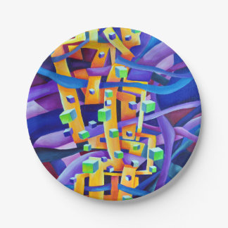 Abstract cubes purple paper plate