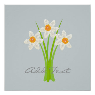 Abstract Daffodils Flowers Poster