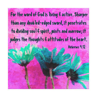 abstract daisies bible verse Hebrews 4:12 Gallery Wrapped Canvas